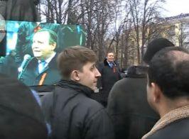 Ведущим пророссийского митинга оказался редактор украинской гостелерадио компании. Кадры публикуются впервые