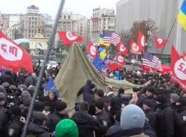 Столкновения на Майдане. Киевская полиция жестко разогнала протестующих с флагами ЕС и США
